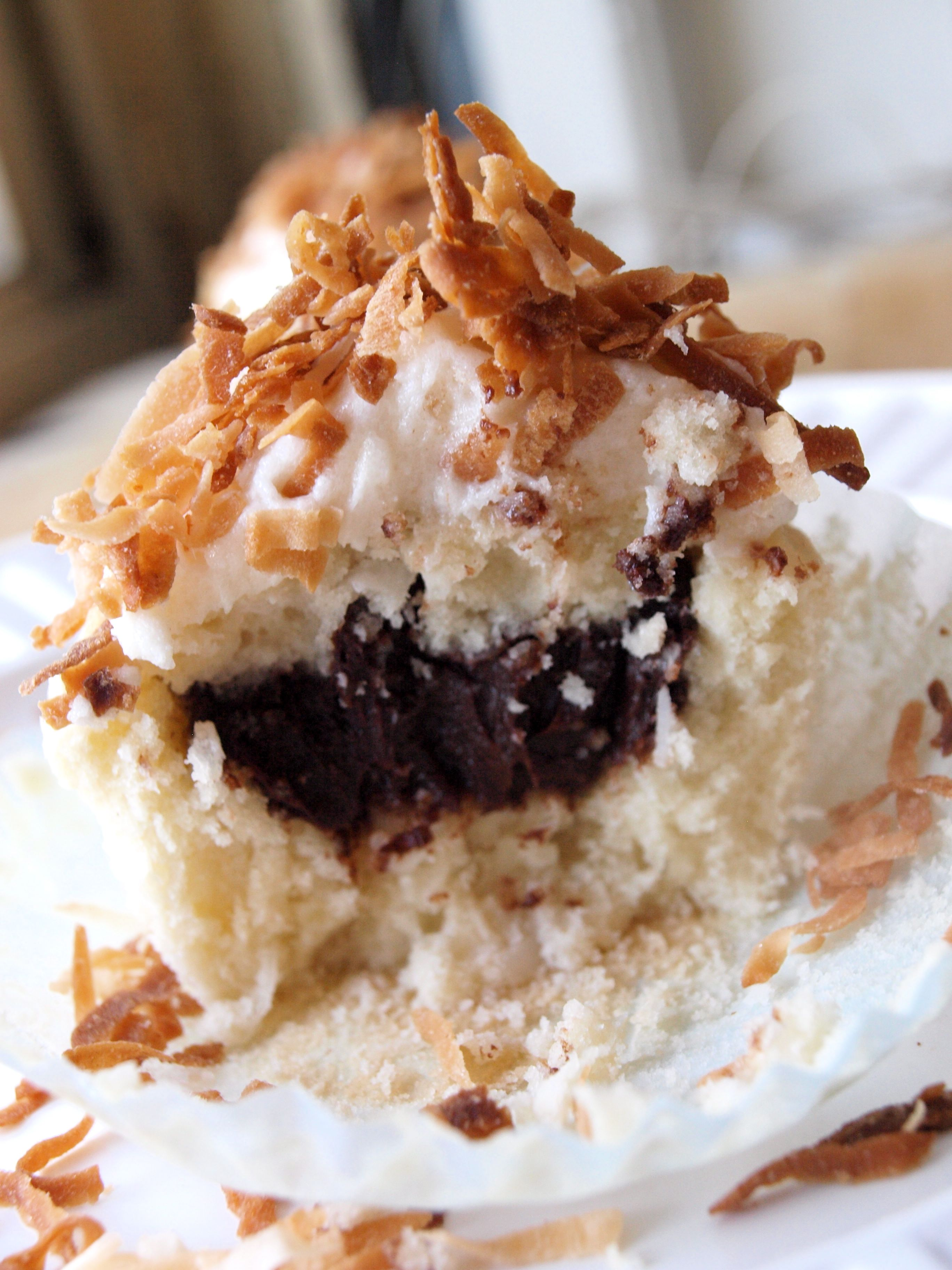 Coconut Cupcakes Filled with Chocolate Ganache