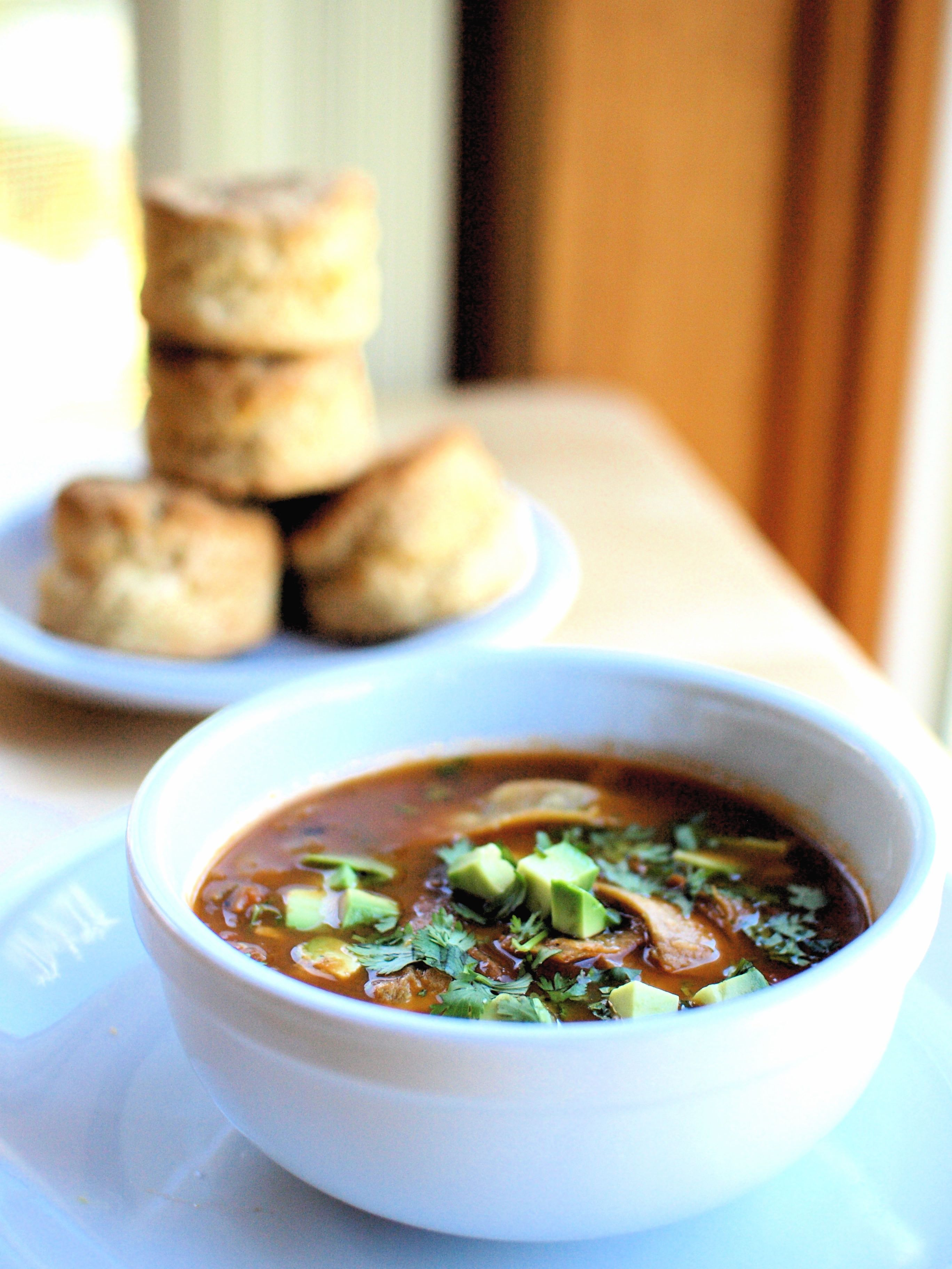 Spicy tortilla soup and cheddar biscuits