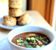 Spicy Tortilla Soup and Cheddar Biscuits // @veggiebeastblog
