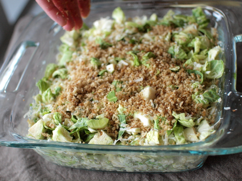 brussels sprout quinoa gratin