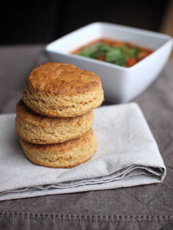 Cornbread biscuits stack chili