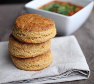 Whole Grain Cheddar Cornbread Biscuits // @veggiebeastblog