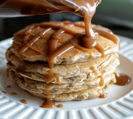 Whole Wheat Oatmeal Pancakes with Peanut Butter Syrup // @veggiebeastblog
