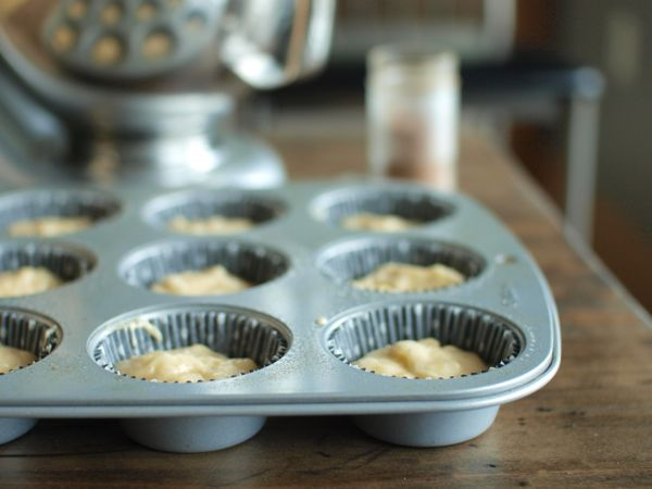banana muffins with cream cheese frosting liners
