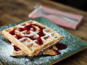 Raspberry white chocolate waffles
