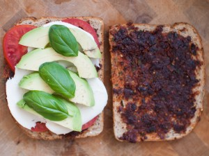 caprese grilled cheese with avocado and sundried tomato pesto1