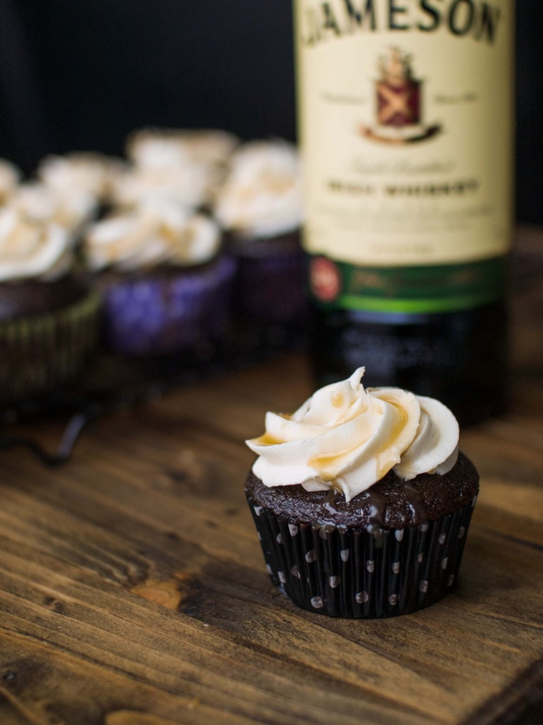 Chocolate Stout Cupcakes with Whiskey Caramel and Buttercream