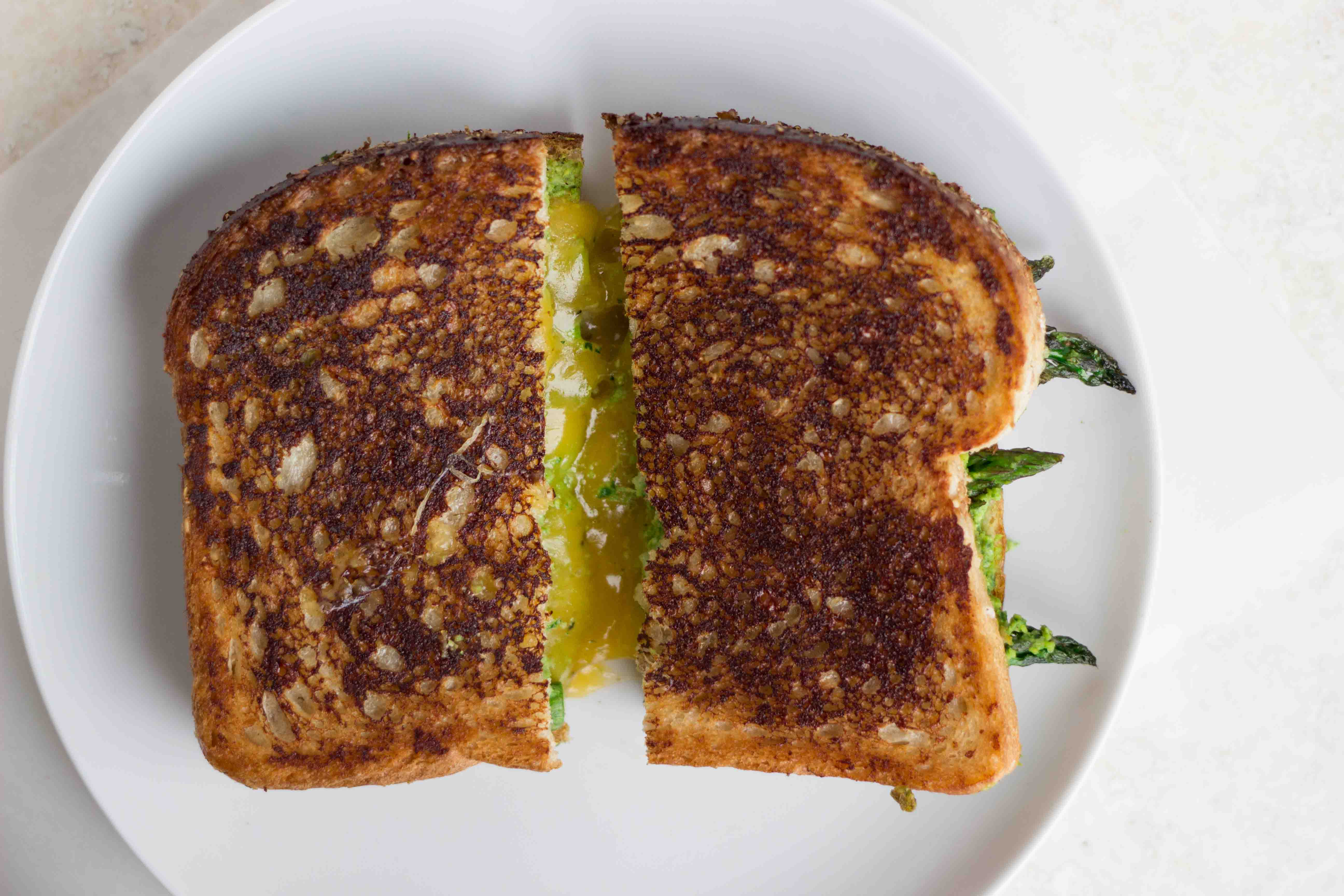 Roasted Asparagus Grilled Cheese with Artichoke Arugula Pesto