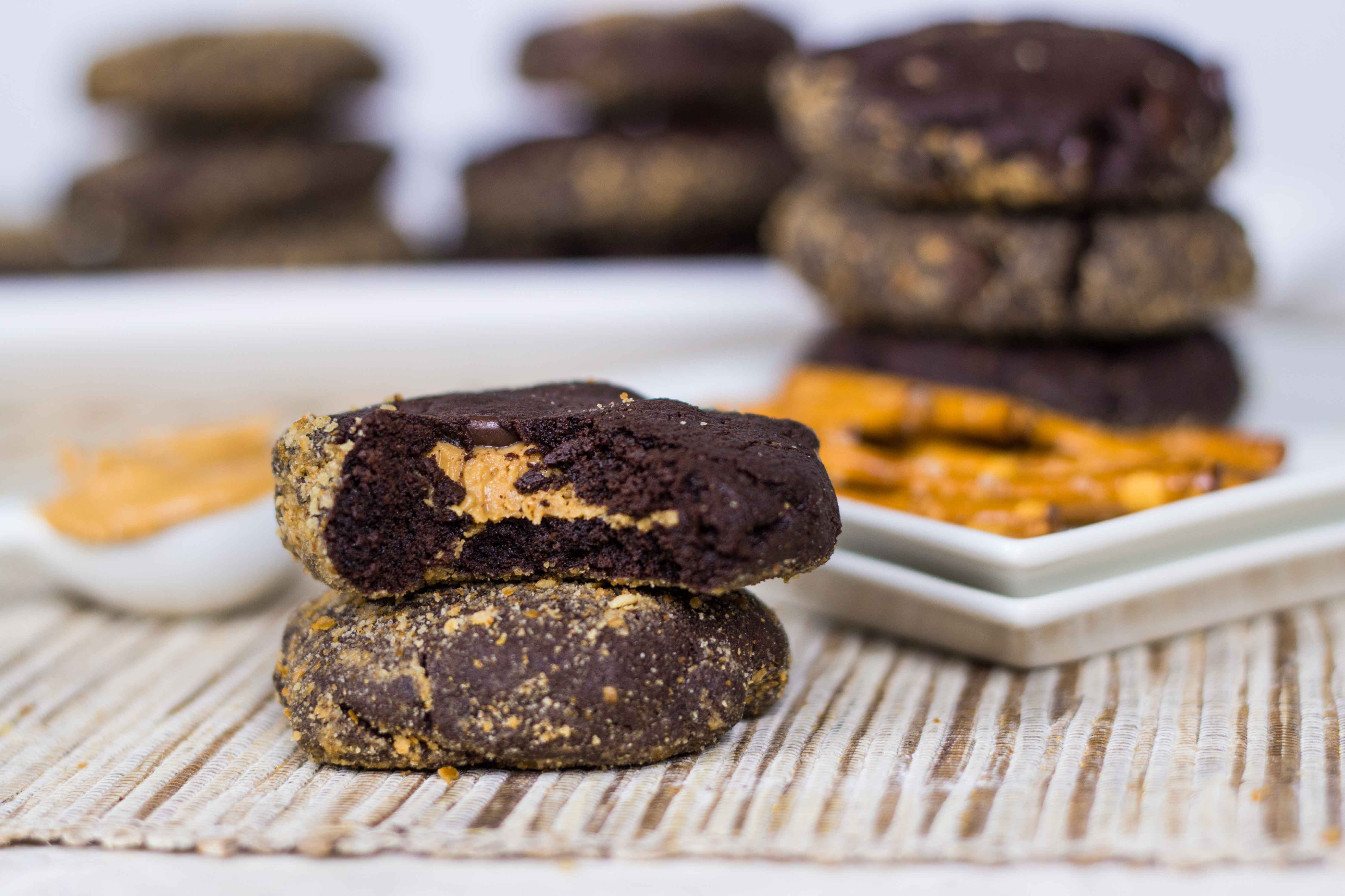 Dark Chocolate Peanut Butter Cup Pretzel Cookies | Veggie and the Beast