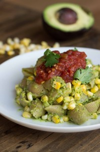 Creamy Guacamole and Grilled Corn Pasta | Veggie and the Beast
