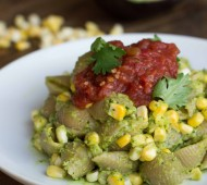 Creamy Guacamole and Grilled Corn Pasta