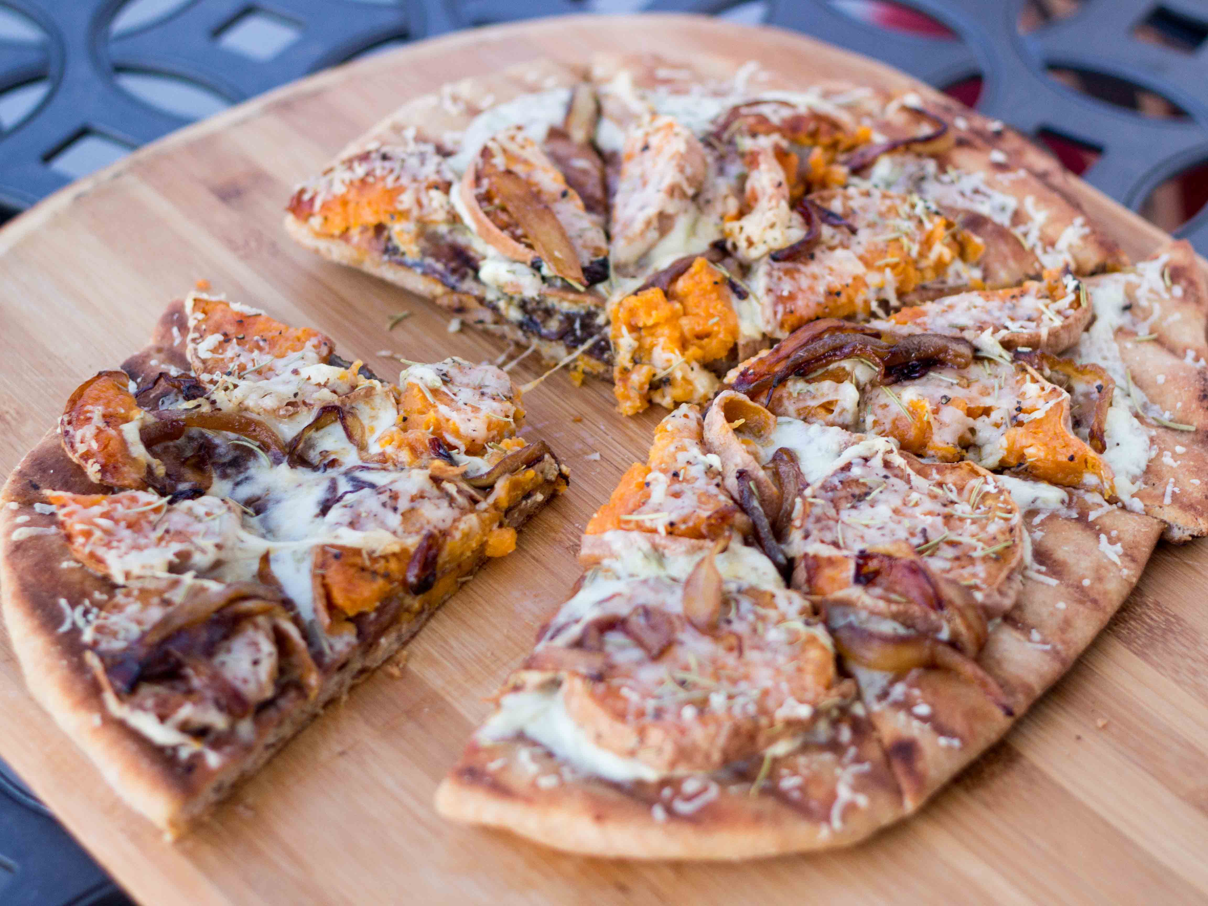 Roasted Sweet Potato Pizza With Spinach & Caramelized Onions Recipe ...