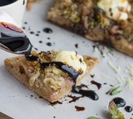 Brussels Sprout Cream Cheese and Balsamic Pizza | Veggie and the Beast