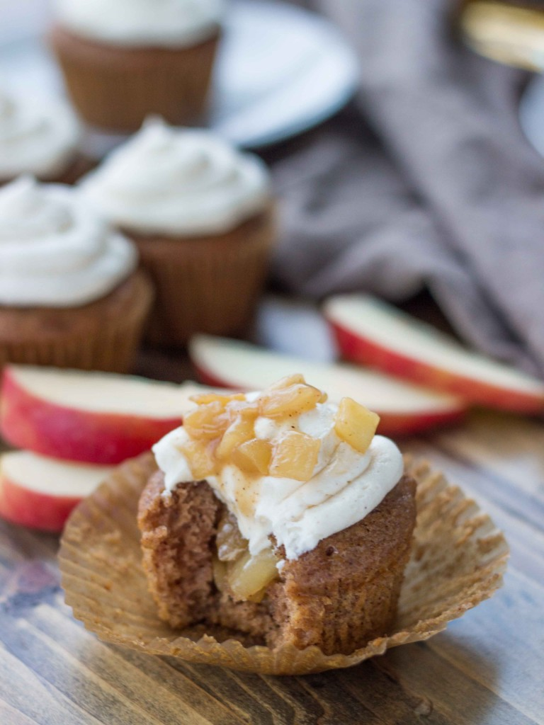 Cinnamon Spice Hard Cider Cupcakes with Whiskey Caramel Apples and Buttercream | Veggie and the Beast