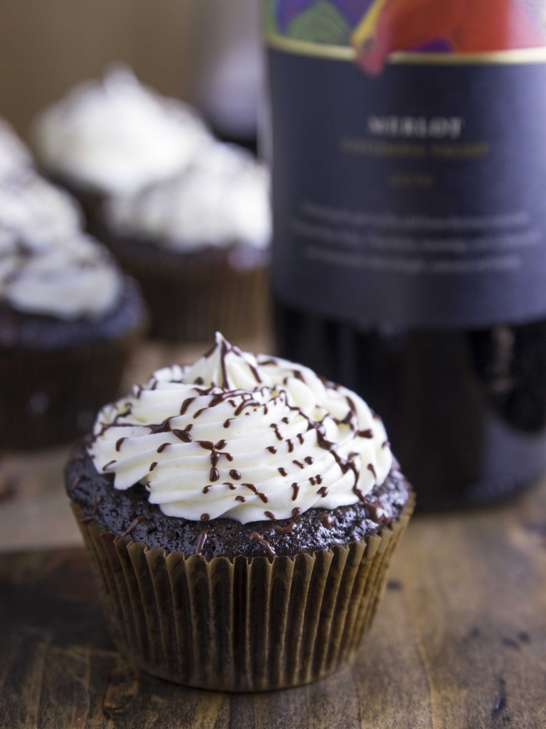 Dark Chocolate Merlot Cupcakes | Veggie and the Beast