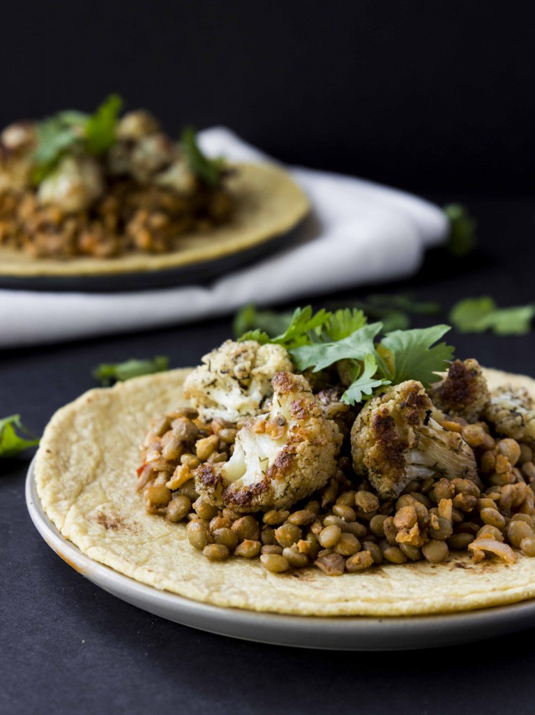 Spicy Buffalo Lentil and Roasted Cauliflower Tacos