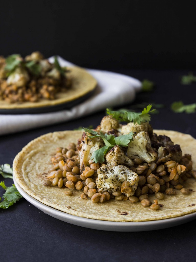 Buffalo Lentil and Roasted Dill Cauliflower Tacos | Veggie and the Beast