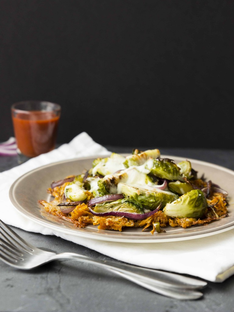 Chili-Spiced Sweet Potato Hash Browns with Roasted Veggies | Veggie and the Beast