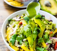 Black Bean Quinoa Bowl with Cilantro Honey Lime Vinaigrette | Veggie and the Beast