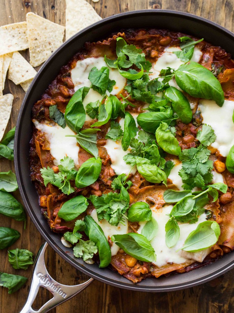 30 Minute Enchilada Skillet Lasagna | Veggie and the Beast