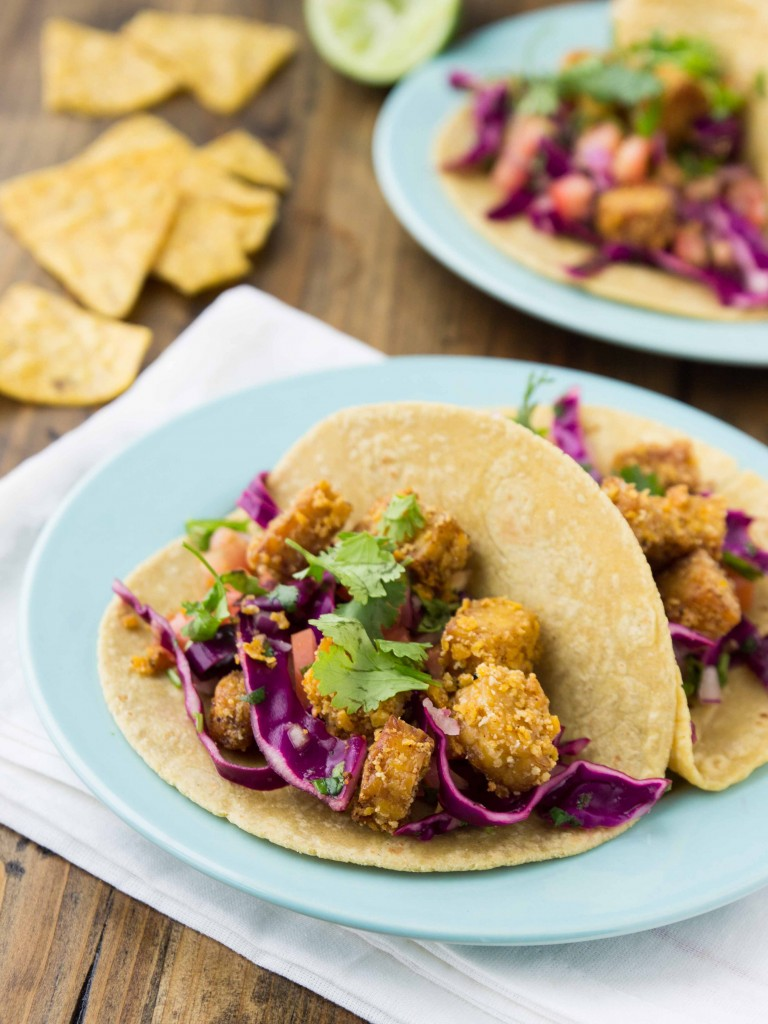 Tortilla-Crusted Tempeh Tacos - crispy, flavorful, high protein vegan tacos!