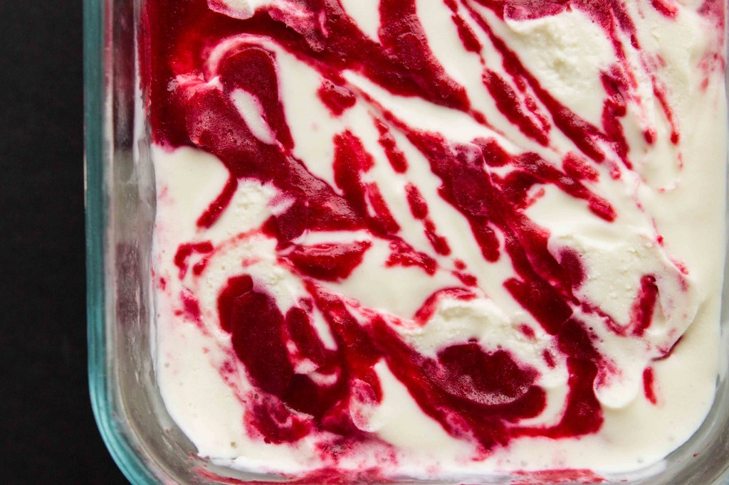 White Chocolate Raspberry Greek Frozen Yogurt - minimal ingredients, creamy texture, and packed with rich white chocolate flavor!