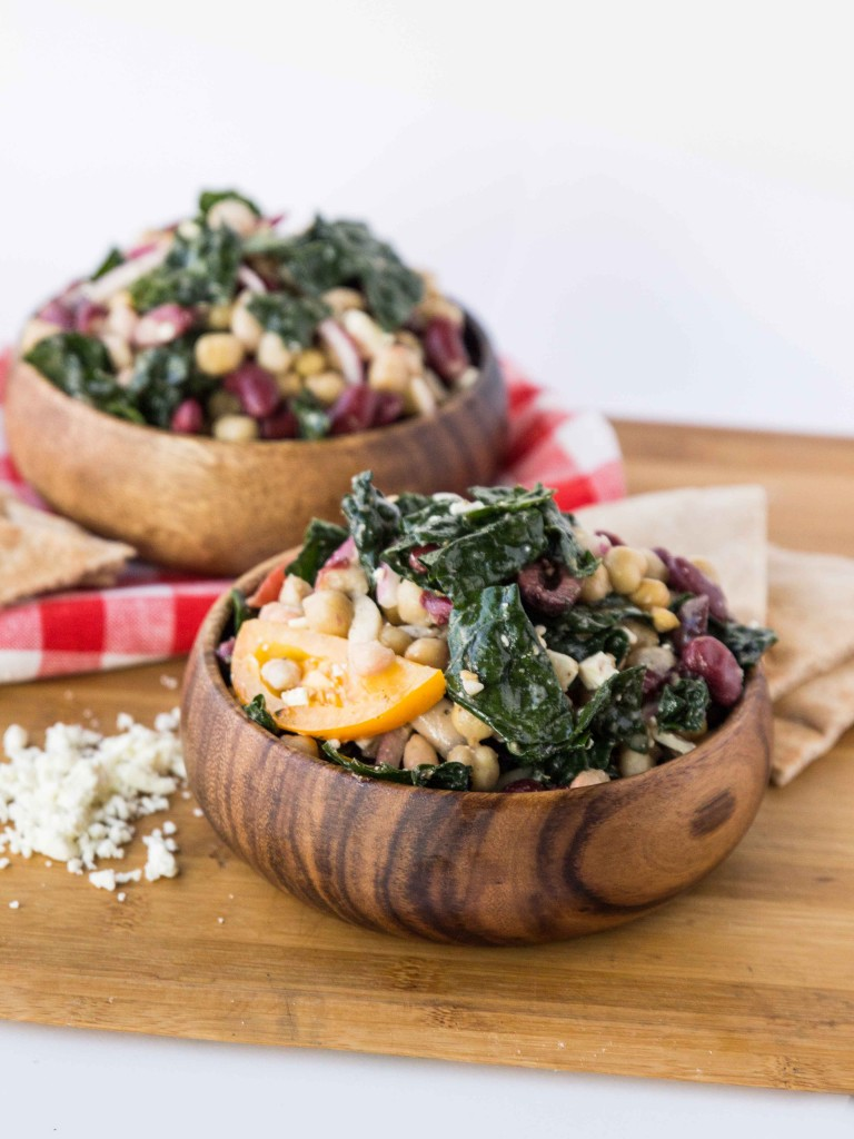 Three Bean Greek Kale Salad | http://veggieandthebeastfeast.com