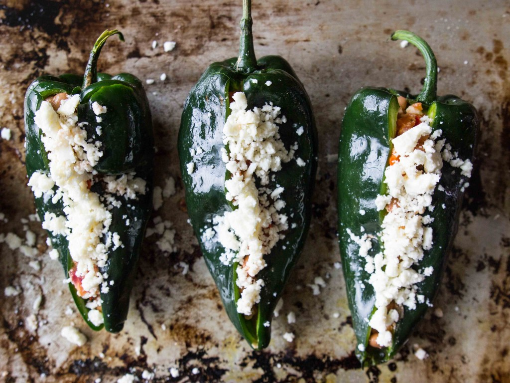 Spicy Salsa and Bean-Stuffed Poblanos | veggieandthebeastfeast.com