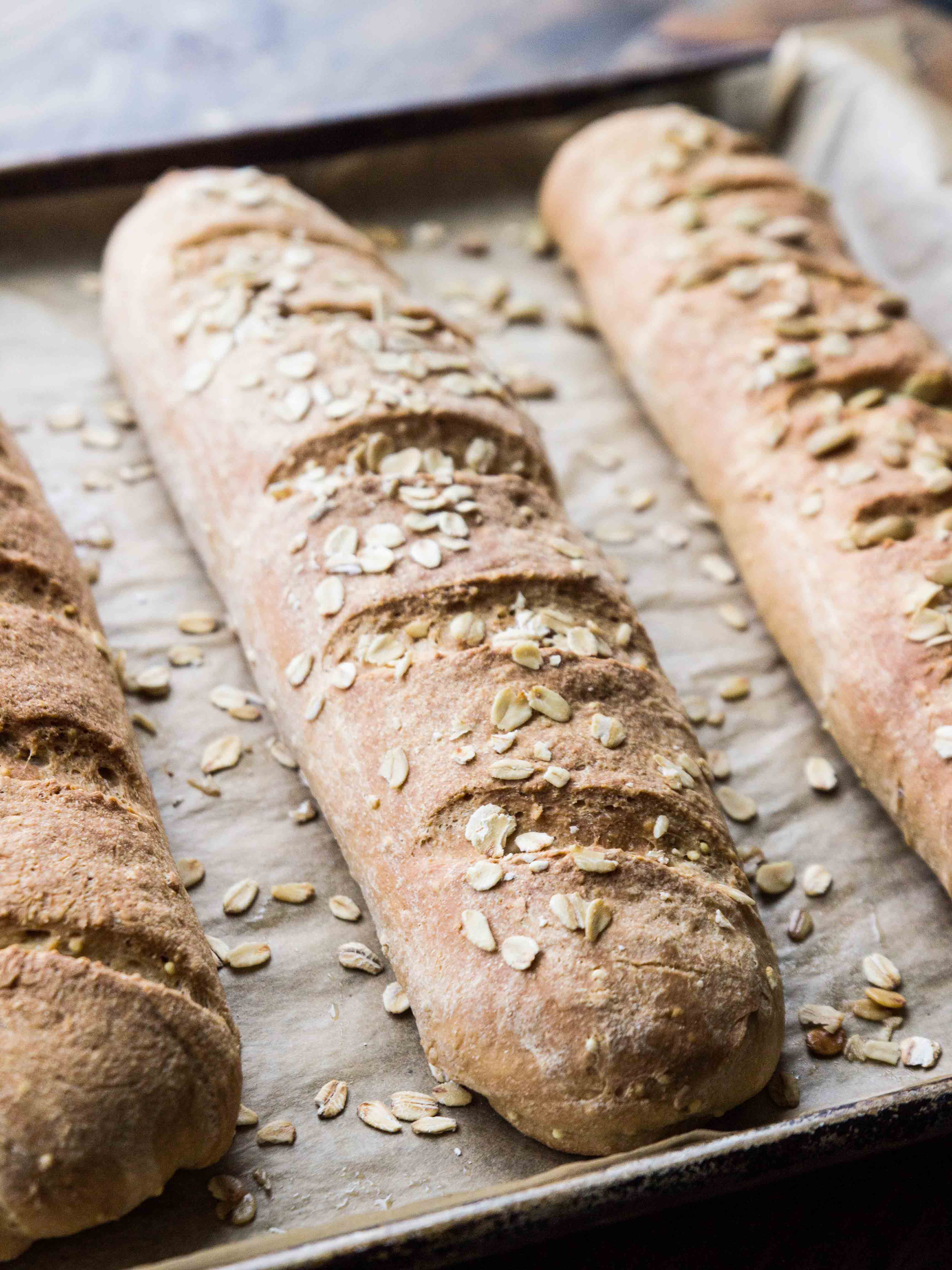 Whole Grain Flax and Millet Baguettes