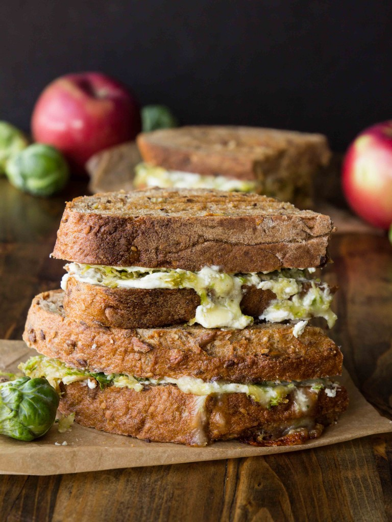 Brussels Sprout, Apple and Brie Grilled Cheese with Whipped Goat Cheese - The BEST grilled cheese ever!