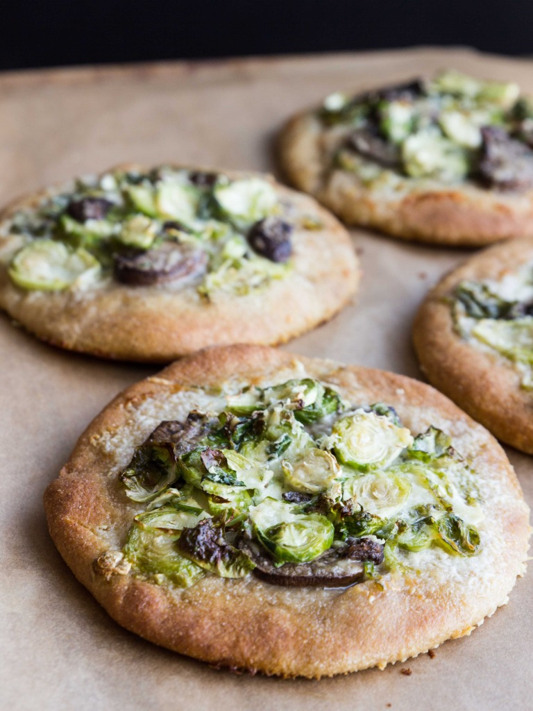 Brussels Sprout, Mushroom and Creme Fraiche Pizzas // veggieandthebeastfeast.com