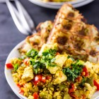 Garlicky Pepper Tofu Scramble with Waffled Jalapeno Hashbrowns // veggieandthebeastfeast.com