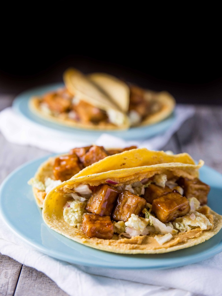 Sweet and Smoky Baked Tofu Tacos with Coconut Citrus Slaw // veggieandthebeastfeast.com