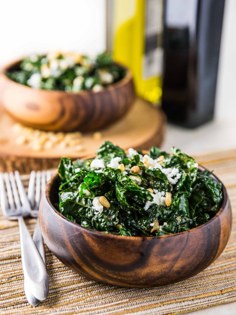 Warm Kale Salad with Goat Cheese, Pine Nuts and Sweet Onion Balsamic ...