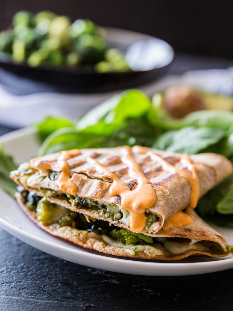Green Machine Quesadillas with Spicy Chipotle Sauce // @veggiebeastblog veggieandthebeastfeast.com
