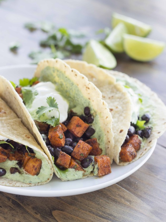 Chili Roasted Sweet Potato and Black Bean Tacos - The High Protein Vegetarian Cookbook