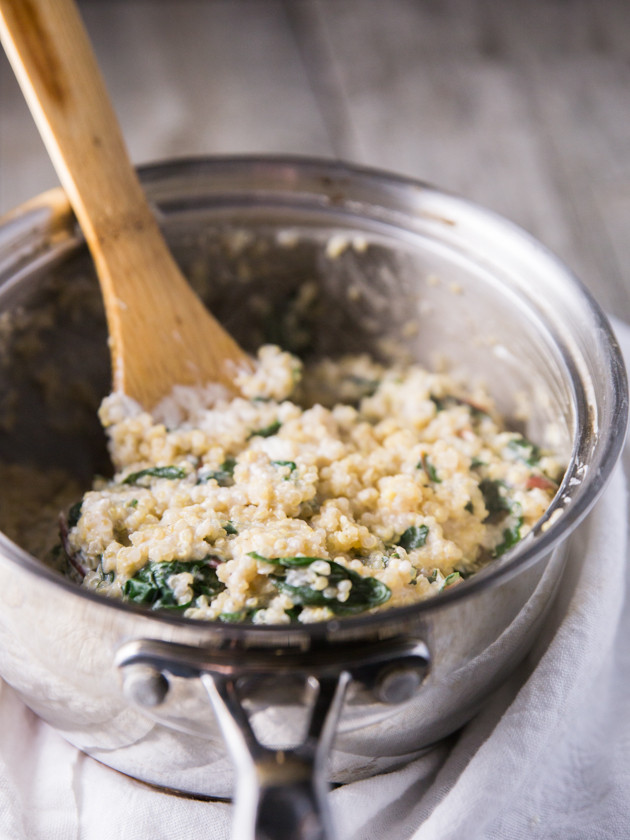 Black Pepper Goat Cheese and Chard Quinoa with Roasted Broccolini // @veggiebeastblog