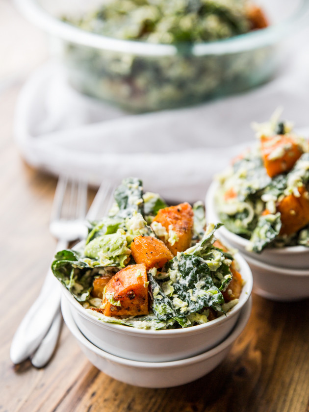Shredded Brussels Sprout, Kale, and Sweet Potato Salad // @veggiebeastblog