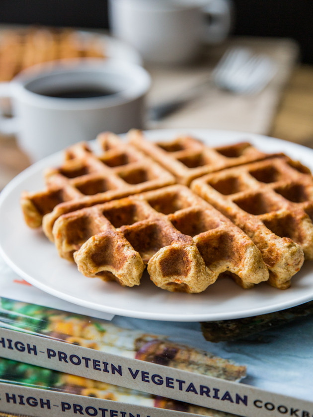 Carrot Cake Waffles with Maple Cream Cheese Glaze, for Two // @veggiebeastblog #highprotein
