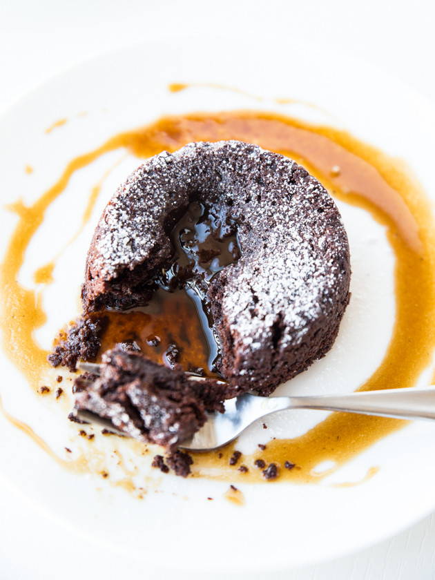Vegan Salted Caramel Lava Cakes, for Two // veggieandthebeastfeast.com