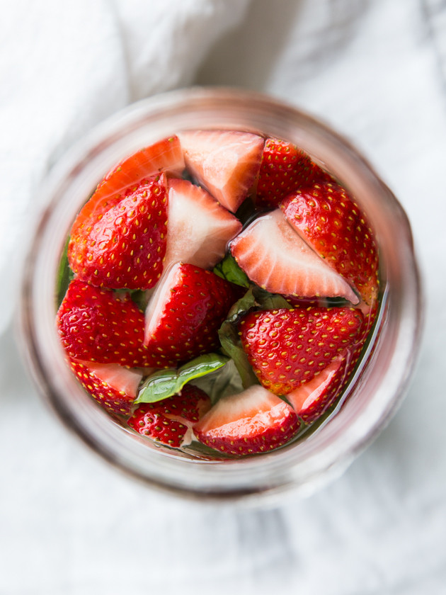 Strawberry Basil Sangria, For Two // @veggiebeastblog