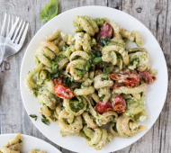 Super Greens Pumpkin Seed Pesto Goat Cheese Pasta with Burst Tomatoes // @veggiebeastblog
