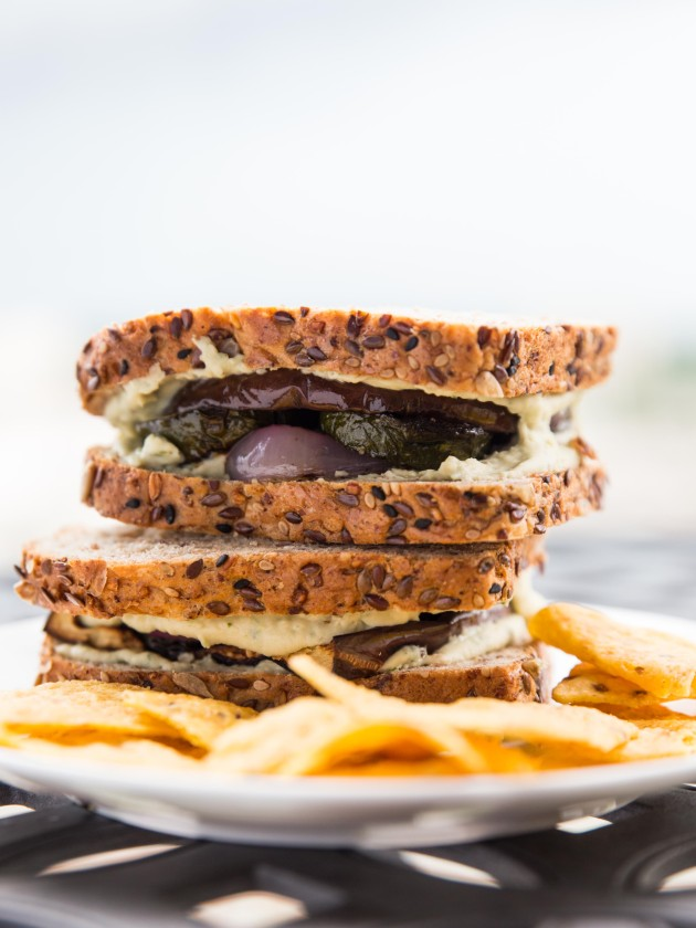 Grilled Veggie Sandwich with Herbed Goat Cheese White Bean Spread // @veggiebeastblog