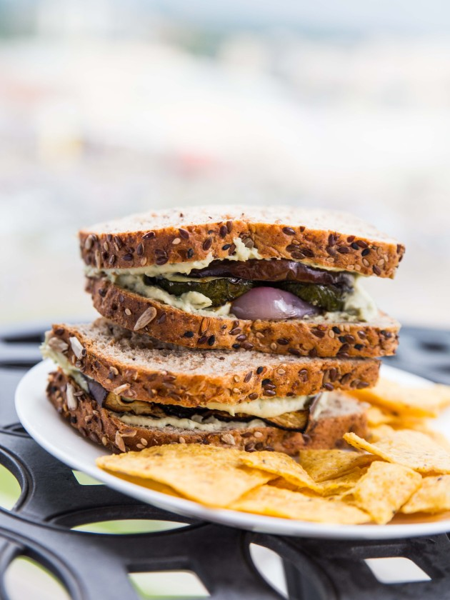 Grilled Veggie Sandwich with Herbed Goat Cheese White Bean Spread // @ ...