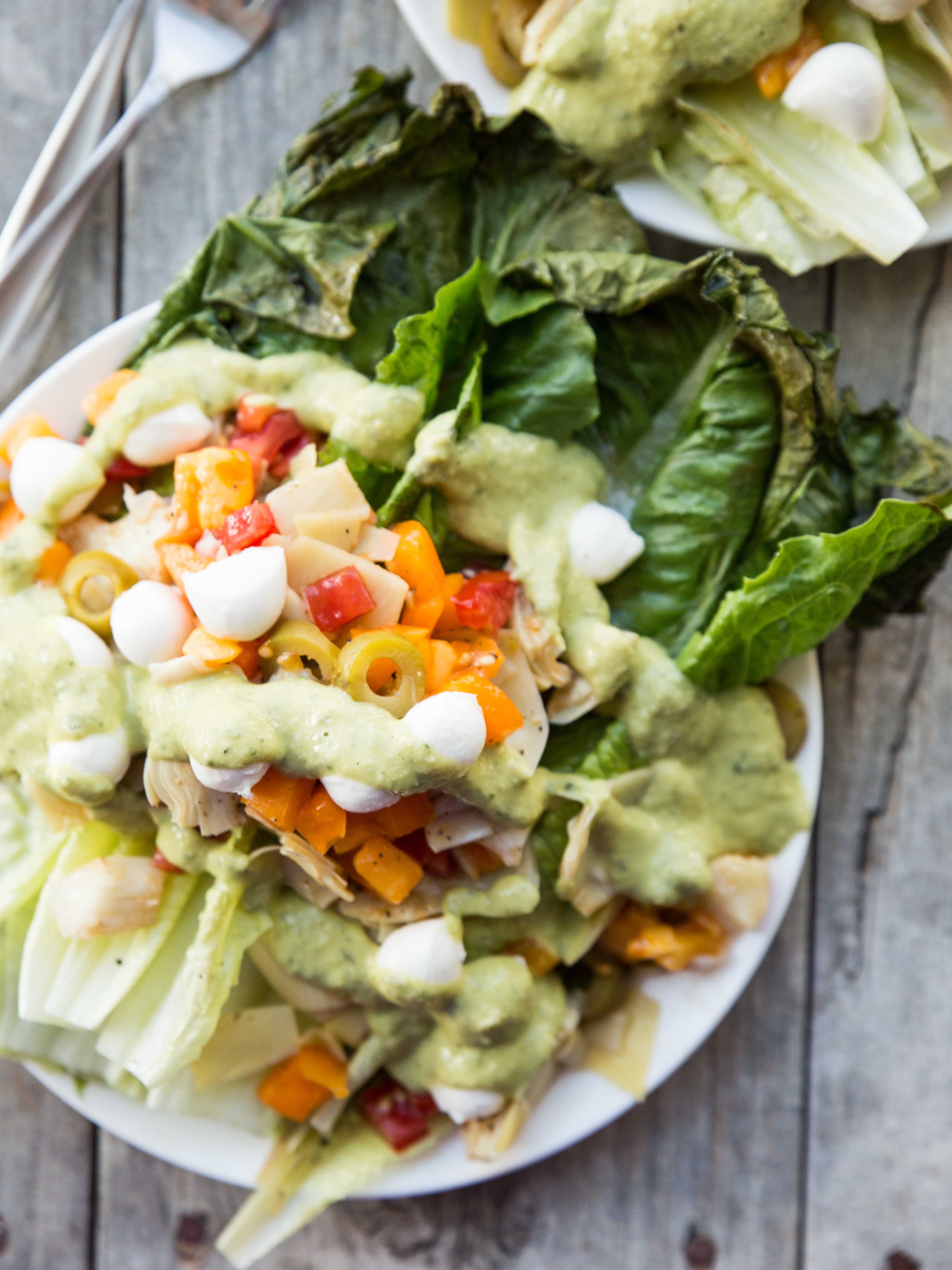 Grilled Romaine Salad with Basil Hummus Dressing