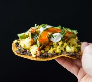 Tofu Breakfast Tostadas - spiced salsa black beans and seasoned tofu on top of a crisp baked tortilla! Flavorful, high-protein savory egg-free breakfast!