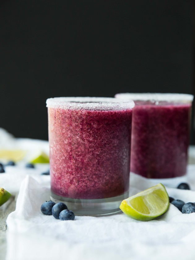 Fresh Blueberry Ginger Blended Margaritas - sweet, spicy, fruity, and perfect for summer!