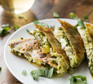 Artichoke, Pesto, and Goat Cheese Quesadillas - a simple, flavorful vegetarian meal!