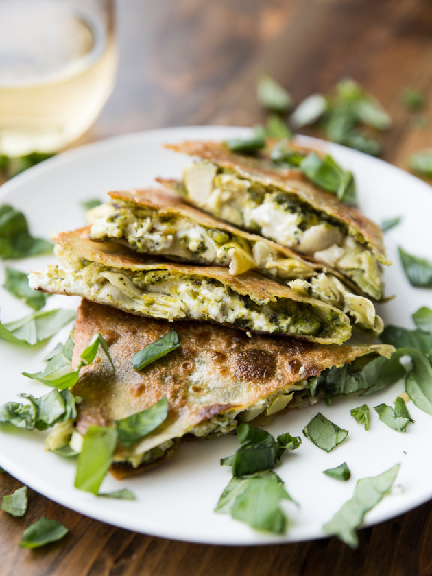 Artichoke, Pesto, and Goat Cheese Quesadillas - a simple, flavorful ...