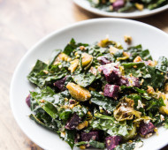 Roasted Sweet Potato, Brussels Sprout, and Tuscan Kale Salad with Pistachios and Goat Cheese